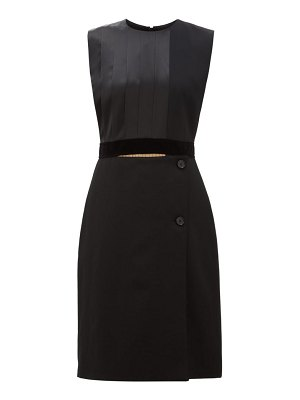 Burberry pleated silk satin and wool shift dress