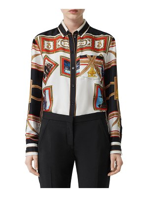 Burberry Postcard-Print Silk Button-Front Shirt