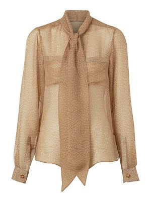 Burberry printed chiffon tieneck silk blouse