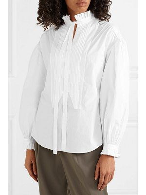 Burberry pussy-bow pintucked cotton-poplin blouse