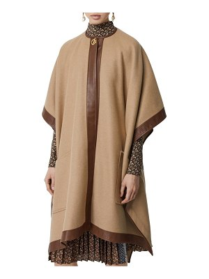 Burberry pyecombe leather trim cashmere cape