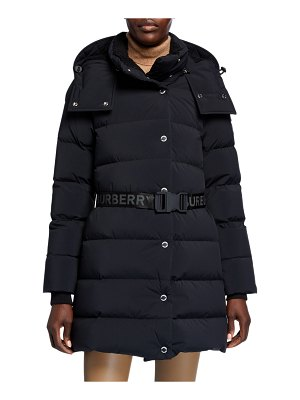 Burberry Quilted Short Coat w/ Logo Belt