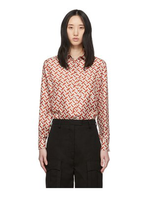 Burberry red silk monogram godwit shirt