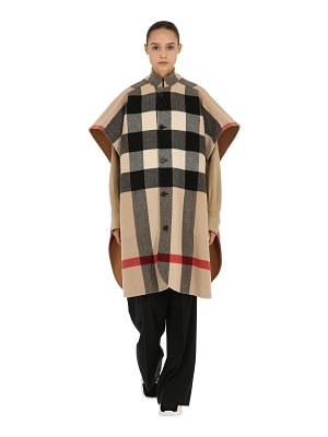 Burberry Reversible solid & check wool cape