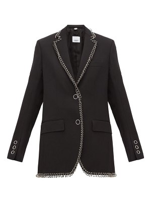 Burberry ring embellished single breasted wool blazer