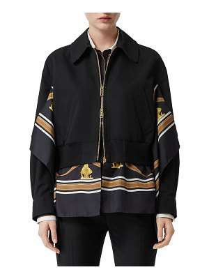 Burberry Scarf-Trim Bomber Jacket