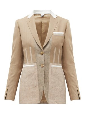Burberry single-breasted panelled wool-blend jacket