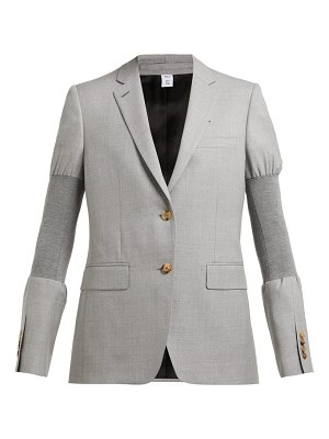 Burberry single breasted ribbed panel wool blazer
