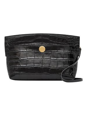Burberry small society croc-embossed leather clutch