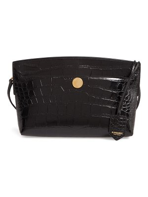 Burberry small society croc embossed leather clutch