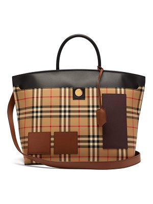 Burberry society house check canvas tote bag