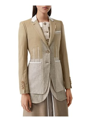 Burberry Tailored Wool-Cashmere Blazer with Waistcoat Taping