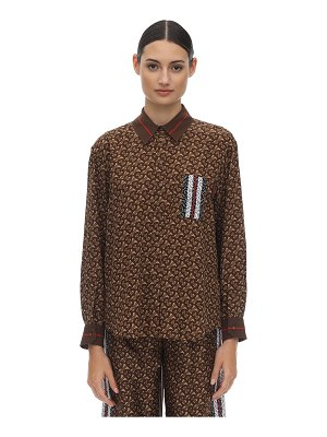 Burberry Tb all over printed mulberry silk shirt