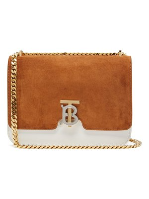 Burberry tb monogram suede and leather cross body bag
