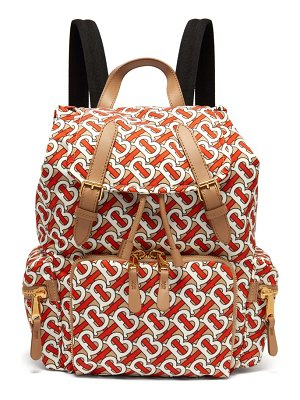 Burberry tb print leather trimmed backpack