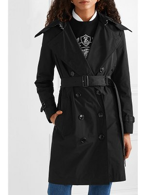 Burberry the kensington leather-trimmed shell trench coat