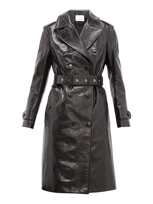 Burberry tintagel double breasted leather trench coat