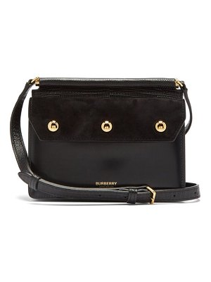 Burberry title mini leather and suede cross-body bag