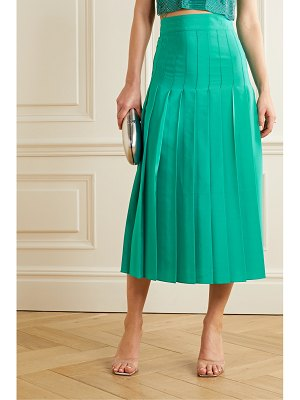 Burnett New York pleated silk crepe de chine midi skirt