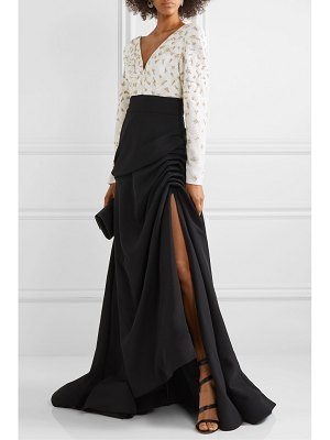 Burnett New York ruched embellished tulle and crepe gown
