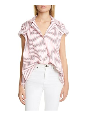 By Any Other Name oversize velvet pinstripe cotton shirt
