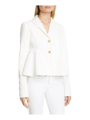By Any Other Name ribbed cotton & linen blend flared peplum jacket