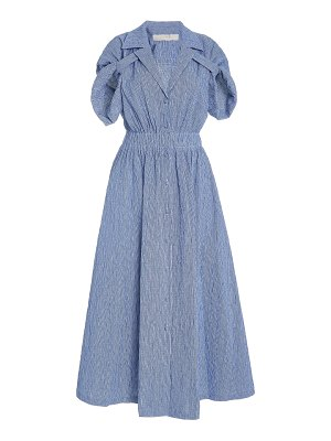 By Any Other Name shirred cotton-blend gauze midi dress