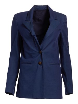 By Any Other Name tie lapel ribbed cotton blazer