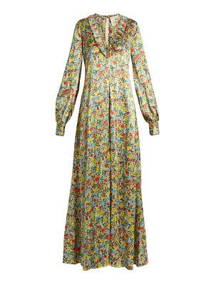 BY. BONNIE YOUNG floral-print ruffle-trimmed silk gown