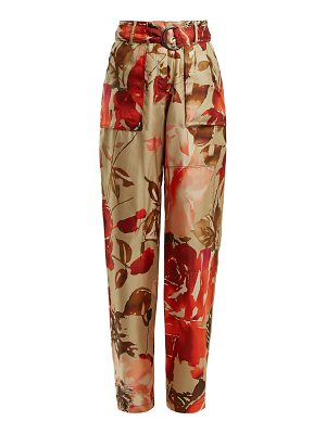 BY. BONNIE YOUNG Rose-print high-rise silk trousers
