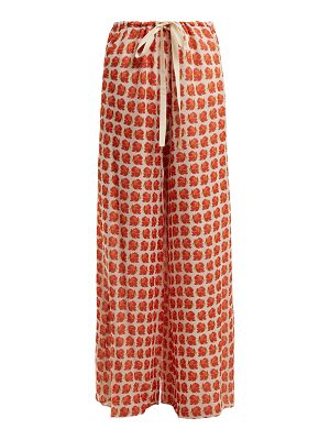 BY. BONNIE YOUNG Rose-print wide-leg silk-chiffon trousers