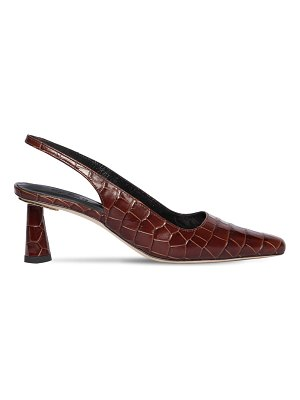 BY FAR 60mm diana croc embossed slingback pumps