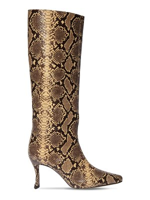 BY FAR 75mm stivie python print leather boots