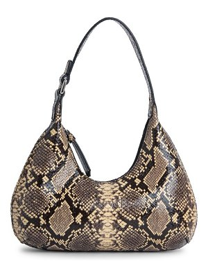BY FAR baby amber snakeskin-embossed leather shoulder bag