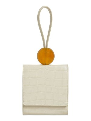 BY FAR Ball croc embossed leather bag
