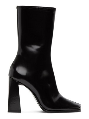 BY FAR black semi-patent linda heeled boots