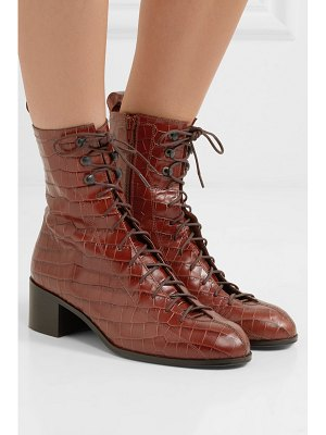 BY FAR bota croc-effect leather ankle boots