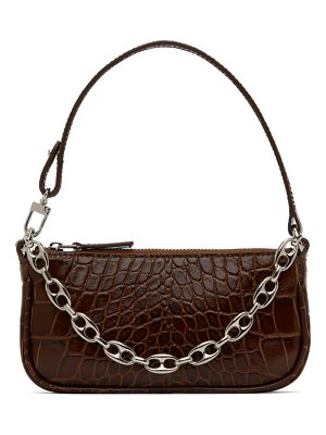 BY FAR brown croc mini rachel bag