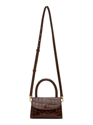 BY FAR brown croc mini top handle bag