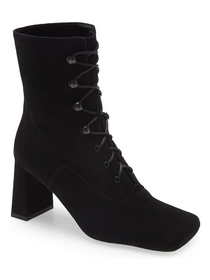 BY FAR claude lace up square tie suede bootie