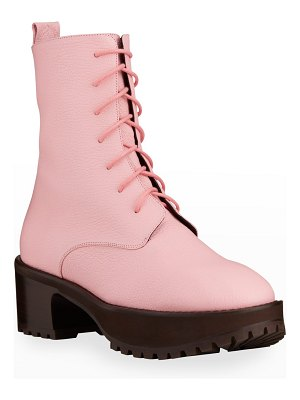BY FAR Cobain Leather Platform Combat Booties