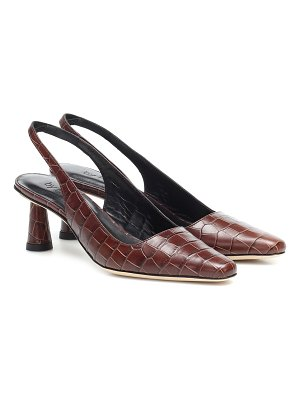BY FAR diana croc-effect leather pumps
