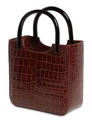 BY FAR Eric croc embossed leather handle bag