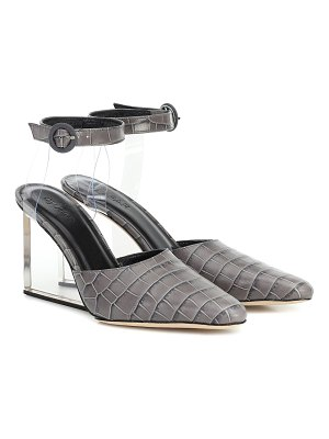BY FAR lex croc-effect leather pumps