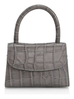 BY FAR mini croc-embossed leather top handle bag