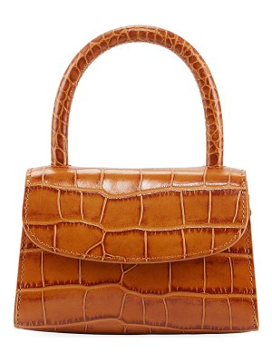 BY FAR Mini Croc-Embossed Leather Top-Handle Bag