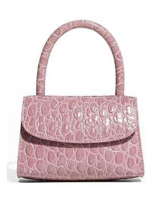 BY FAR Mini Croco Embossed Leather Top-Handle Bag