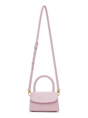BY FAR pink croc mini top handle bag