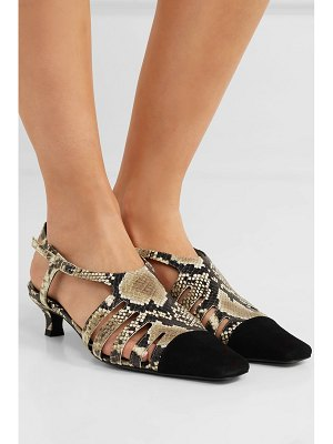 BY FAR savannah cutout snake-effect leather and suede slingback pumps