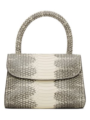 BY FAR white and grey snake mini top handle bag